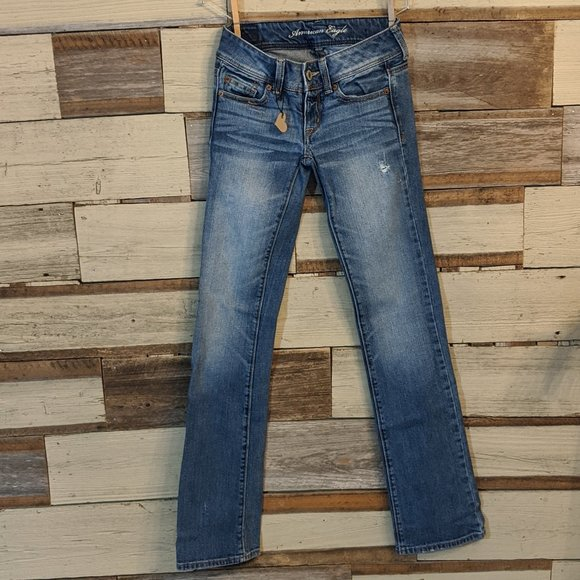 american eagle Denim - American Eagle Distressed Slim Boot Jeans sz 0